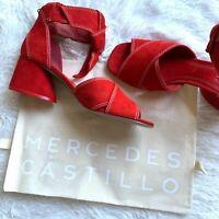 Mercedes Castillo Women's Size 8 Asuki Knotted Strap Red Sandal Sculpture Heel