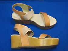 8 38.5 Chinese Laundry GABBY Tan Brown Ladies Shoe Leather Platform Wedge Sandal