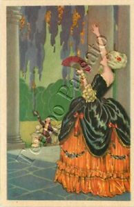 Dama con ventaglio saluta dal portico il suo corteggiatore / illustratore Busi