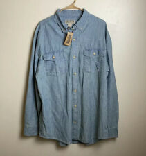 Duluth Trading Light Blue Chambray Mens Button Up Shirt New With Tags