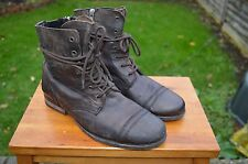 *AWESOME* AllSaints Mens leather lace up zip Cropped Military boots UK7 US8 EU41