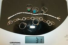 lot bijoux argent 925 & fantaisie réparation craft Swarovski Monet silver rings