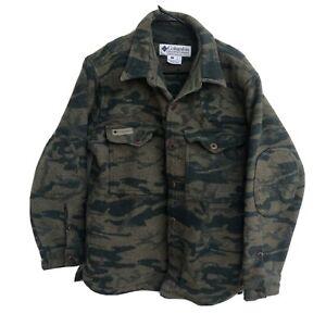 Vintage Columbia Wool Camo Coat Camo Camouflage Jacket Mens Size L