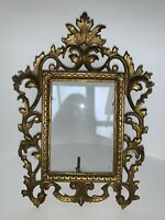 Vintage Cast Brass Ornate Picture Frame Easel Scroll Rococo Baroque
