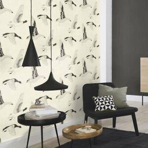 Flying Ducks | Motif Wallpaper in Black and White Monochrome