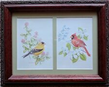 Framed Postcards American Goldfinch & Northern Cardinal