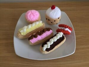 Hand Knitted Food Cakes Toy Role Play Display