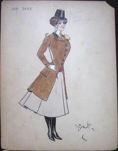 Henri Gerbault/Artist-Signed 1910 French Original Art - Woman, Fashion, Hat