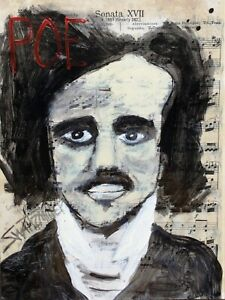 POE PAINTING original SWARTZMILLER DNA SIGNED Pop ART Outsider UNIQUE UPCYCLED