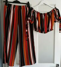 New Look Cameo Rose 2 Piece Co Ord Trousers 12 Crop Top 14  Striped Multi colour