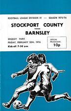 Football Programme>STOCKPORT COUNTY v BARNSLEY Feb 1976