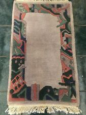 Vintage Wool Rug TD 13673 Hand Woven Gray Coral Green Geometric Asymmetrical