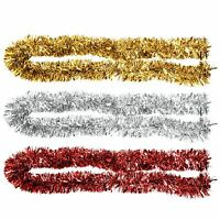 2m Chunky Metallic Tinsel 6ply Thick Christmas Tree Home Festive Decoration