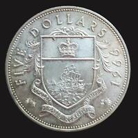 1966 BAHAMAS SILVER $5 COIN PIRATE DEFEAT MOTTO - VERY GOOD Cond, BAHAMA ISLANDS
