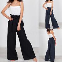 Mode Femme Pantalon Simple Taille haute Ceinture Long Jambe Large Grande Taille