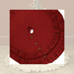 Park Designs Red Jute Burlap Tree Skirt with Ruffled Edges