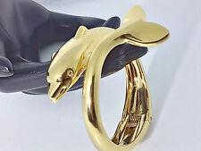 Bracciale Oro Giallo Rigido Delfino Donna Pesce Gioielli Donna