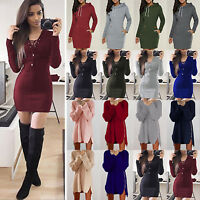 Womens Sweater Jumper Ladies Casual Long Sleeve Hoodie Pullover Tops tunic Dress