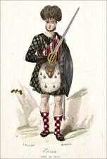 ECOSSE - Portrait d'un jeune CHEF de CLAN en armes - Gravure en couleur 19eme