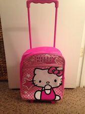 Hello Kitty Backpack Rolling Travel School Bag w/Wheels Pink Glitter Print new