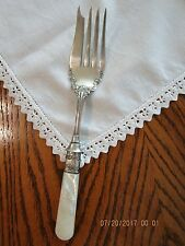 Antique Sterling Silver Meat Fork, Mother of Pearl Handle, 1897