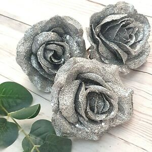 3 x Glitter Silver Roses Christmas Tree Decoration on a Clip Sparkly Silver Grey