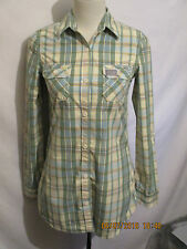 LADIES *SUPERDRY* SHIRT GREEN CHECK SIZE SMALL MINT CONDITION.
