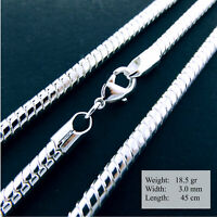 Necklace Chain Genuine Real 925 Sterling Silver S/F Fine Snake Design 45cm