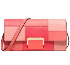 Michael Kors Cynthia Large Clutch Bag Purse Leather Pink Grapefruit $218 NWT