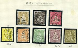 "switzerland "" assise "" 1881 n° 49 / 57 ( fil de soie ) used val : 1500 $"