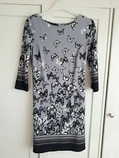 Atmosphere Size 8 Grey And Black Butterfly Print Dress Three-quarters Sleeved
