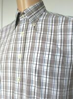Mens GANT Shirt Pinpoint Oxford Brown Blue White Check L/S M Pit to Pit 23""