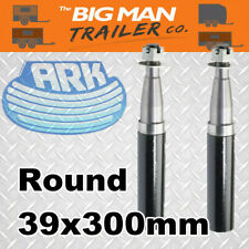 "Ark Trailer 2x Stub Axles 39mm Round 300mm 12"" Length Washer Pin Nut SAX3912"