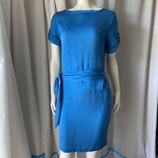DVF Diane Von Furstenberg Silk Dress Tie Front Blue Short Sleeve Size 6 Flawed