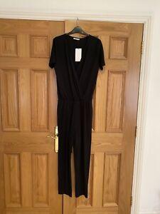 Zara Black Rib Jersey Jumpsuit, Size M, BNWT