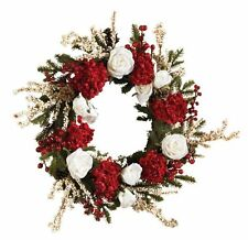 Nearly Natural 4899 Hydrangea with White Roses Wreath- 24-Inch- Red /White/Green