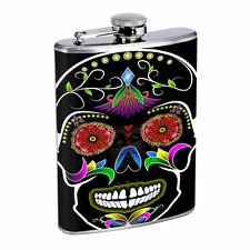Sugar Skull D8 8oz Hip Flask Stainless Steel Day of the Dead Dia Los Muertos Art