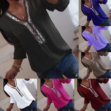 Women Plus Size Long Sleeve Casual T shirts Lady Loose Sequins V-neck Top Blouse