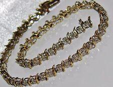 Ladies 9ct Yellow & White Gold 0.50ct - Diamond Tennis Bracelet