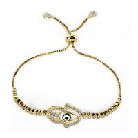 New Clear White Zircon Blue Evil Eye Adjustable Bracelet Gold Plated Women Gift