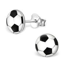 925 Sterling Silver Soccer Ball Sports Kids Girls Women Stud Earrings Jewellery