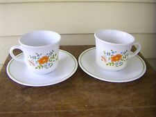Vintage Corning Ware CORELLE  Set of Two Coffee Cups with Saucers  WILDFLOWER