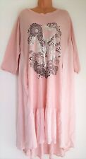 New Italian Lagenlook Pink Silver Motif Cotton dress 16 18 20 22 24