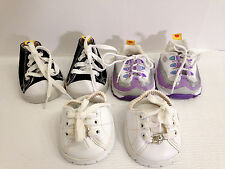 Lot of 3 BUILD A BEAR ATHLETIC SHOES -SPARKLY HEART; HIGH TOPS; PURPLE