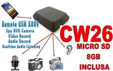 MICROSPIA GSM X009 SPIA AUDIO VIDEO INTERCETTAZIONE AMBIENTALE CIMICE SD8GB CW26