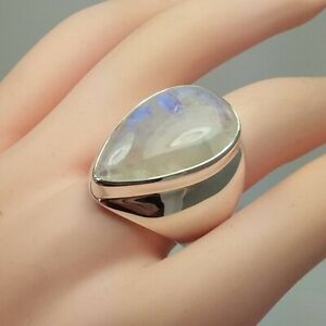 Fashion 925 Silver Rings Women Moonstone Jewelry Wedding Rings Gift Size 6-10