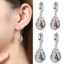 Fashion Silver Engraved Flower Cat's Eye Moonstone Drop Earrings Hoop for Women