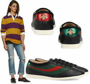 GUCCI SNEAKERS MENS FALACER WEB STRIPE BLACK LEATHER SHOES $650 5G 5.5 US
