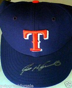 Ivan Pudge Rodriguez autographed signed autograph Rangers game cap hat FLEER COA