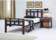 King Single Jacobus  Bed  in Metal and Wooden Construction - Antique Oak / Black